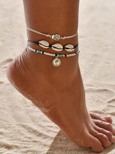 3pcs Coin Charm Shell Decor Beaded Anklet