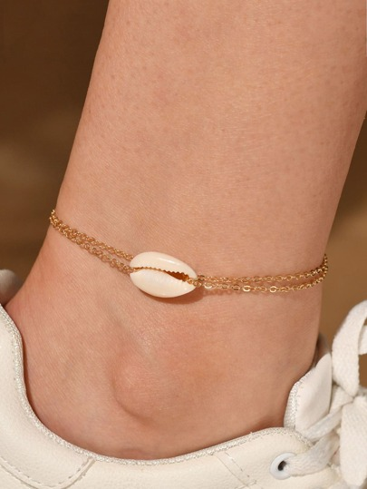 1pc Shell Decor Layered Anklet