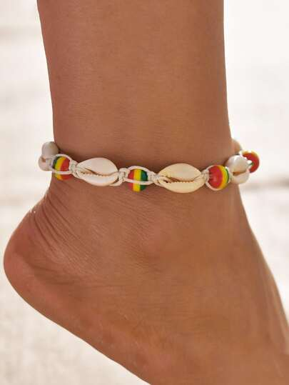 1pc Striped Ball & Shell Decor Anklet