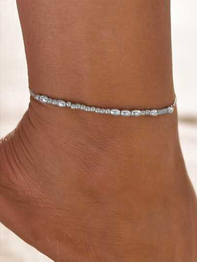 1pc Solid Beaded Anklet