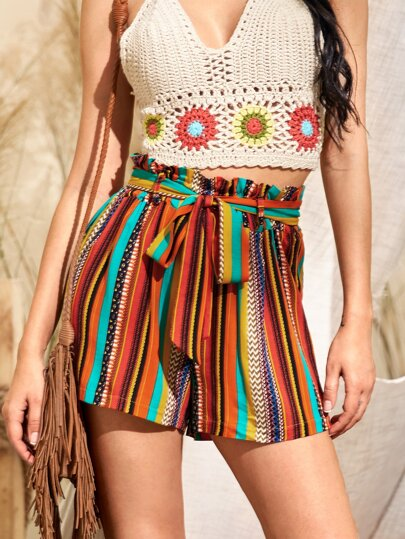 Striped Paperbag Waist Belted Shorts