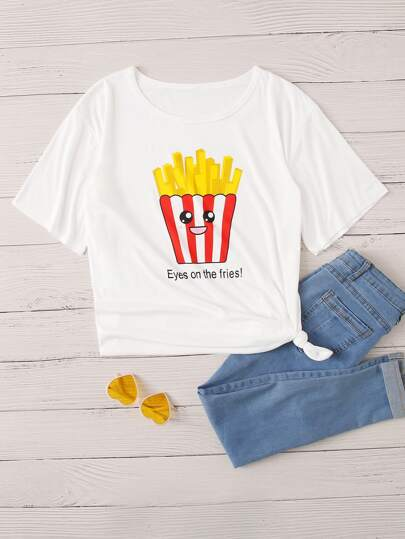 Plus Fries And Slogan Graphic Tee