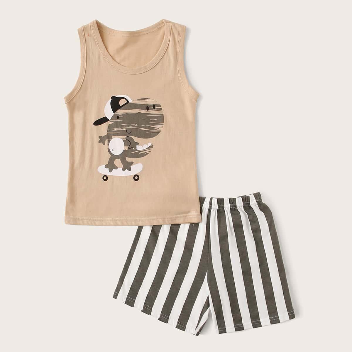 Пижама в полоску с мультяшным принтом для мальчиков