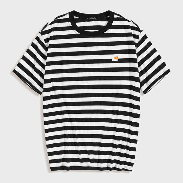 Men Patched Detail Striped Tee, Black and white