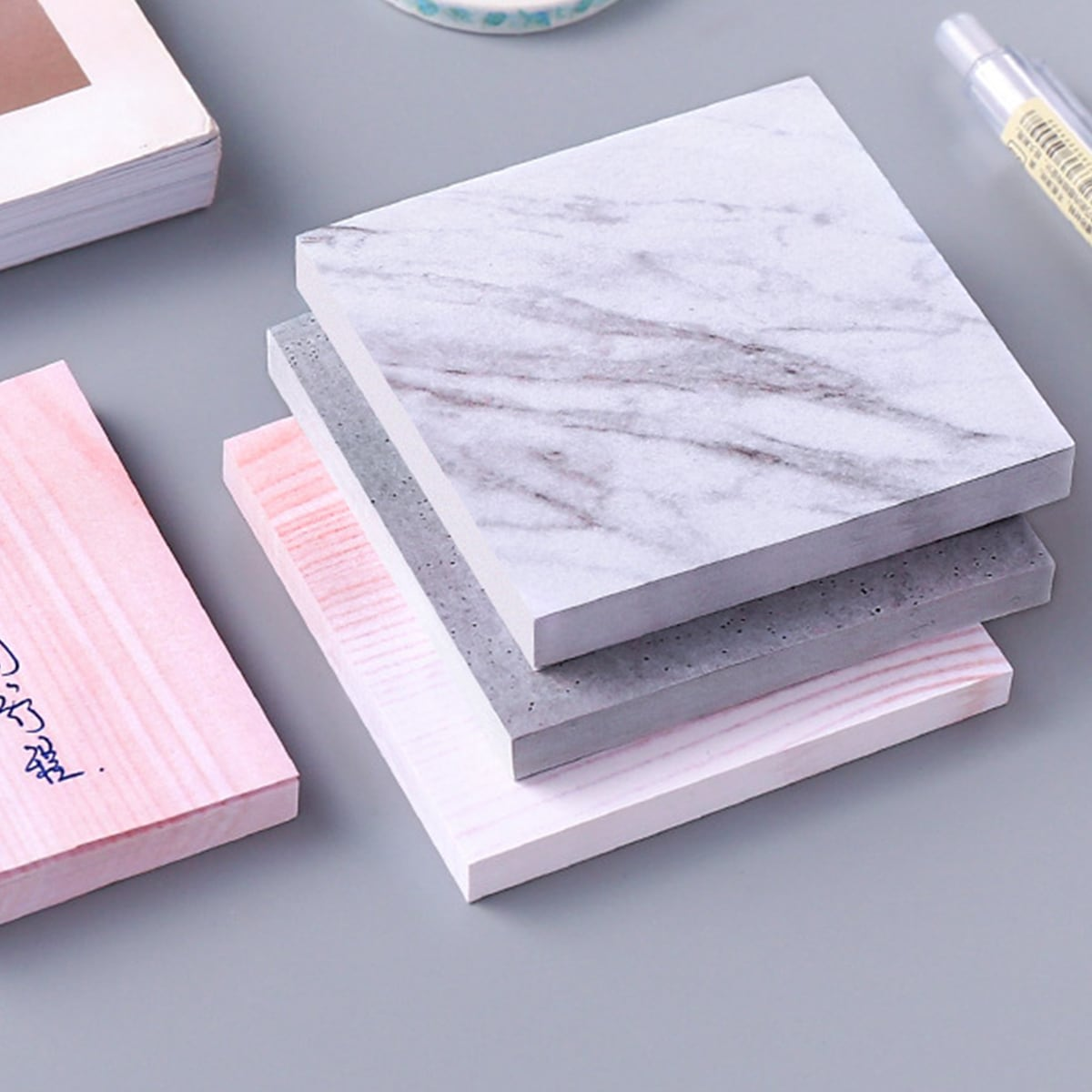 1pack Marble Pattern Sticky Note