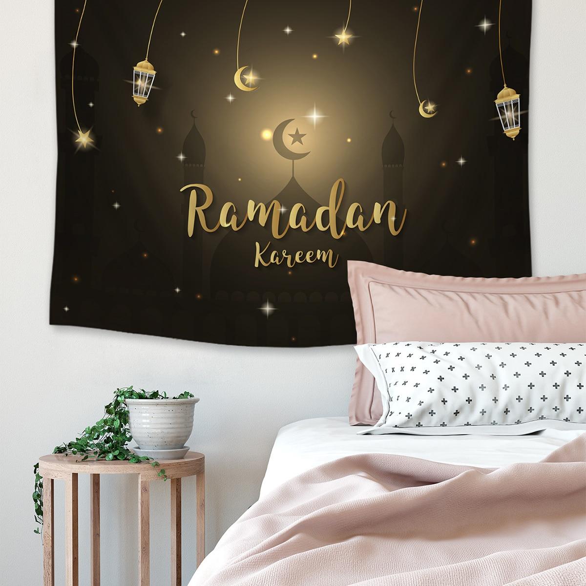 1pc Ramadan Licht & Buchstaben Muster Tapisserie