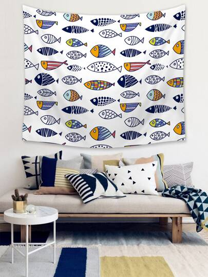 1pc Fish Print Tapestry