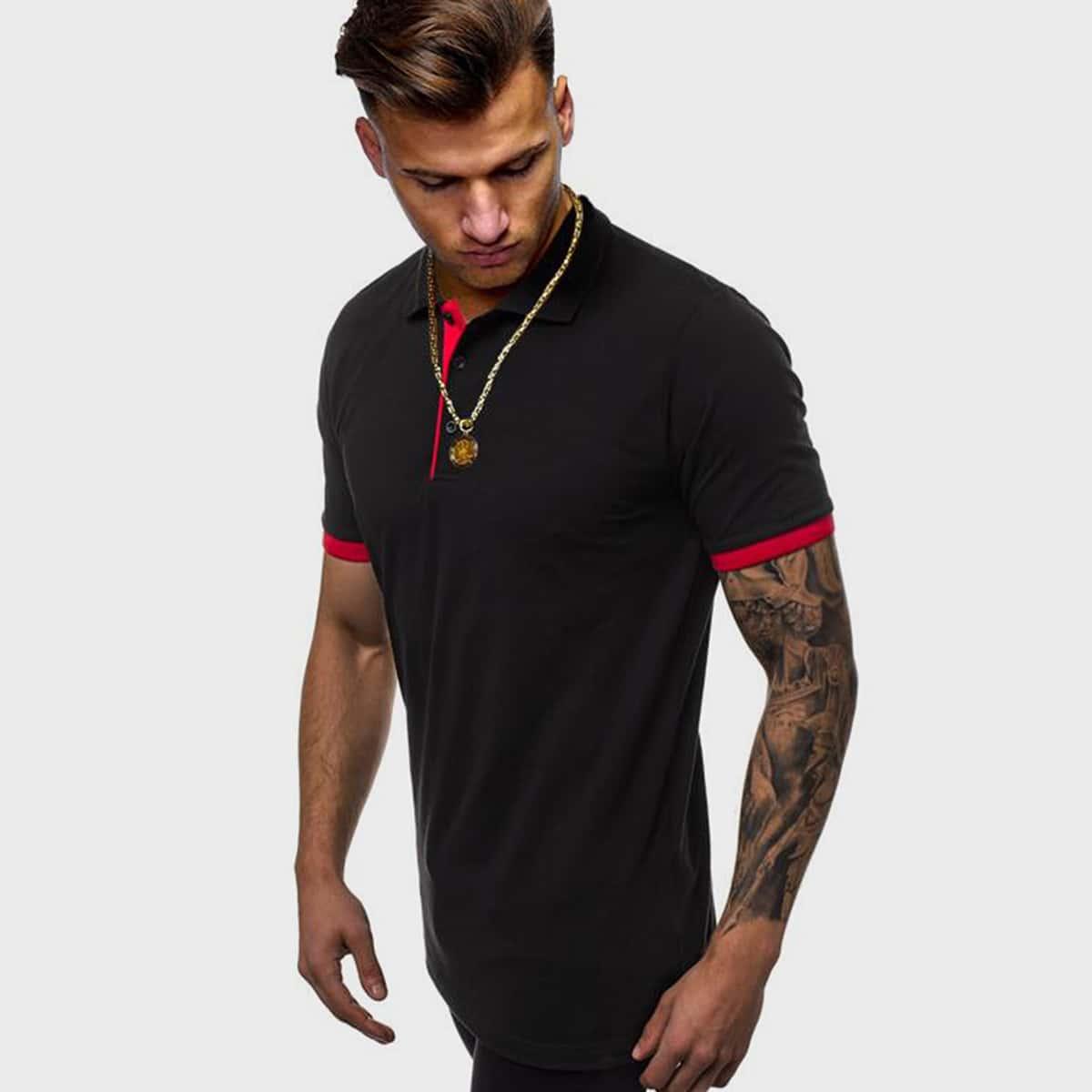 Мужская контрастная рубашка-поло