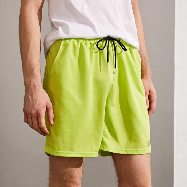Men Letter Graphic Drawstring Track Shorts, Green bright