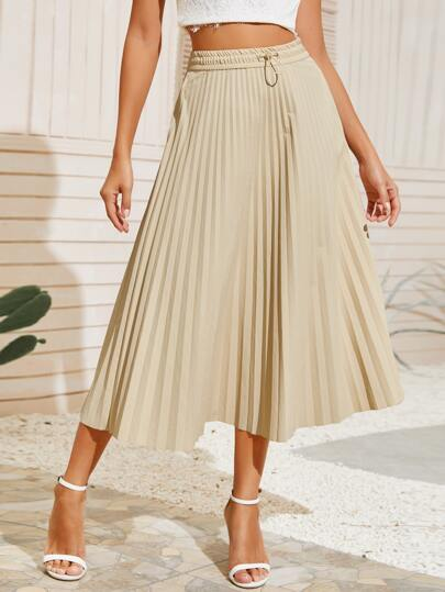 Drawstring Waist Solid Pleated Skirt