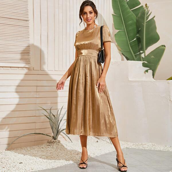 High Waist Ruched A-line Dress, Gold