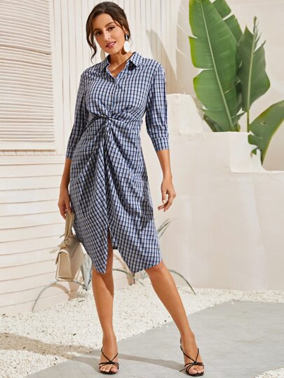 Button Front Twist Front Plaid Shirt Dress