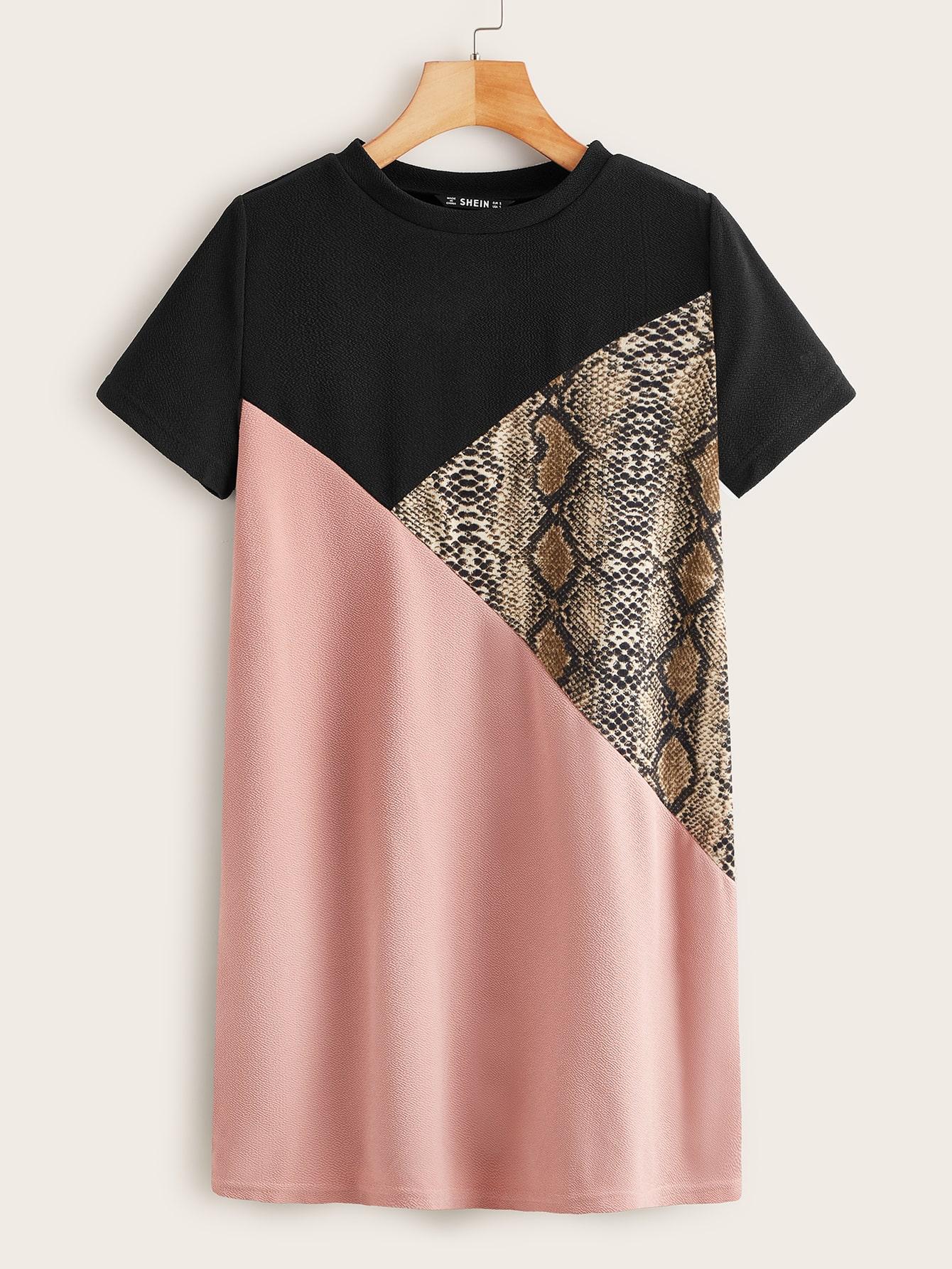 Snakeskin Colorblock Tee Dress thumbnail