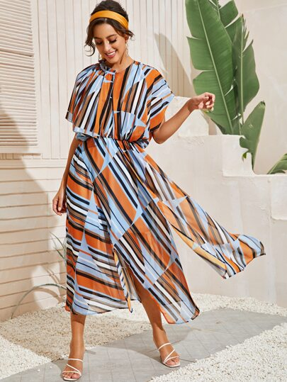 Striped Frill Split A-line Dress