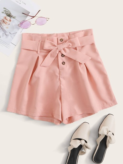 Button Front Self Tie Shorts