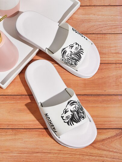 Lion Print Wide Fit Sliders