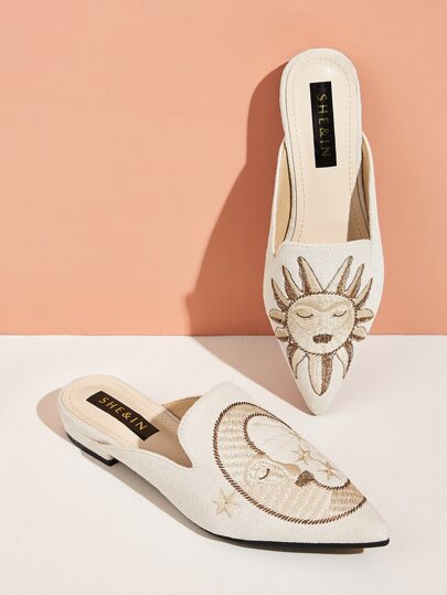 Point Toe Sun & Moon Embroidered Flat Mules