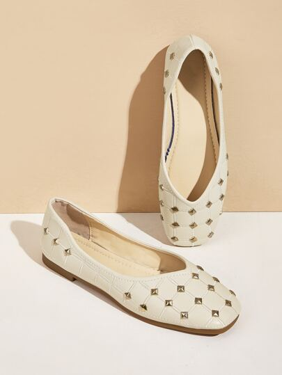 Spiked Decor Square Toe Flats