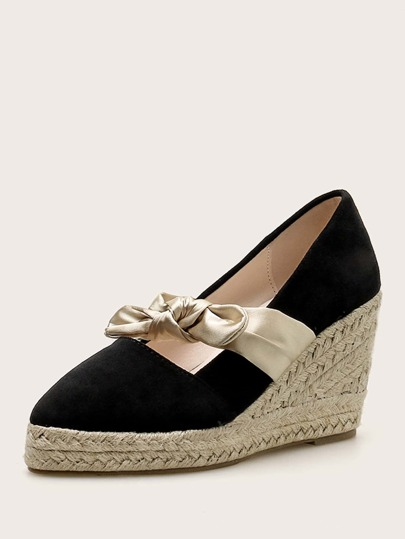 Bow Knot Decor Espadrille Wedges
