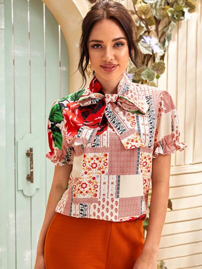 Tie Neck Ditsy Floral Patchwork Blouse