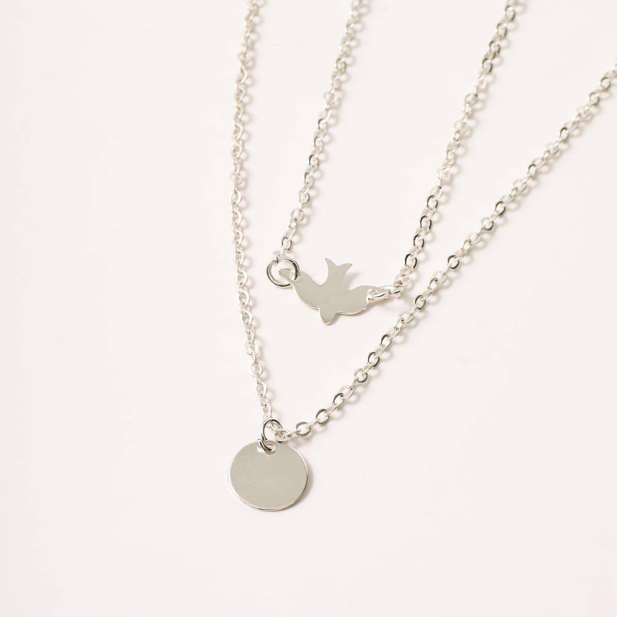 1pc Swallow & Disc Decor Layered Halskette