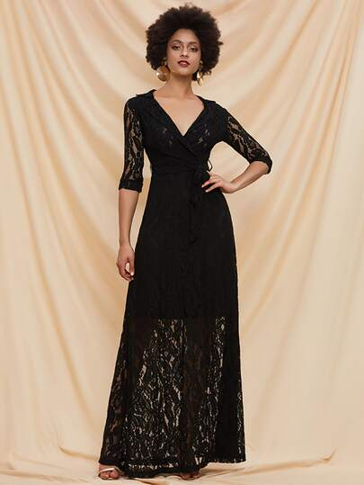 Missord Notched Collar Belted Lace Overlay Prom Dress