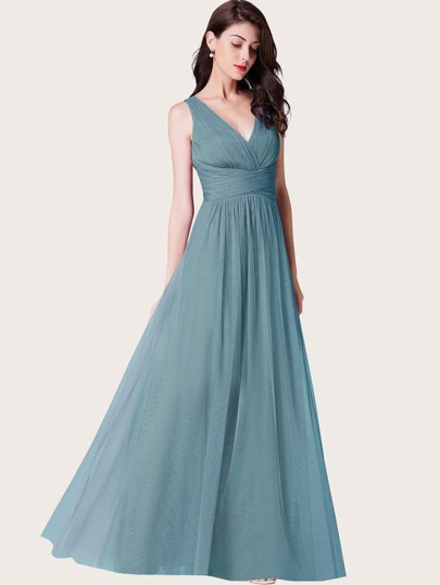 EverPretty Twist Front Ruched Bodice Mesh Prom Dress