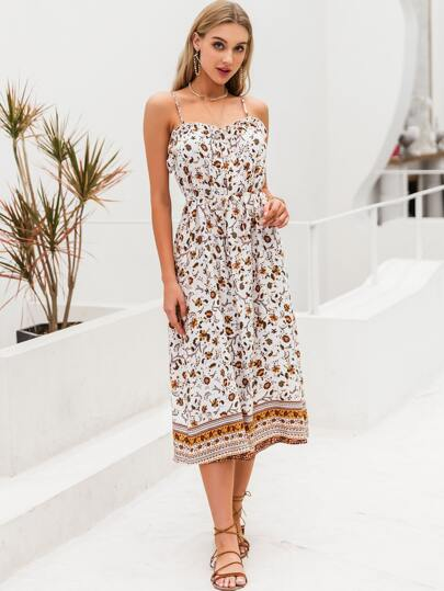 Simplee Frill Trim Self Belted Floral Slip Dress