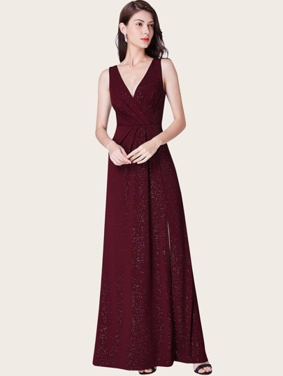 EverPretty Surplice Neck Fold Pleated Detail Split Glitter Prom Dress