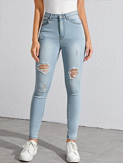 Washed Ripped Solid Jeggings