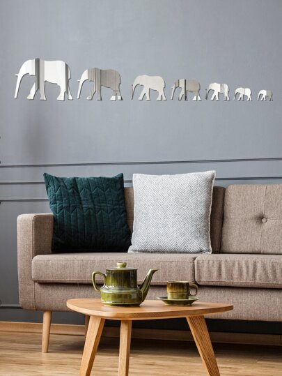 Elephant Shaped Mirror Surface Wall Sticker
