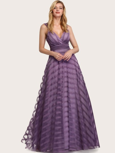 EverPretty Empire Waist Striped Mesh Overlay Prom Dress