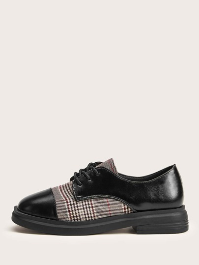 Plaid Panel Oxford Shoes