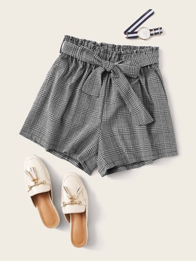 Paper Bag Waist Belted Plaid Shorts