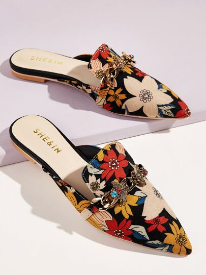 Metal Bee Decor Floral Flat Mules