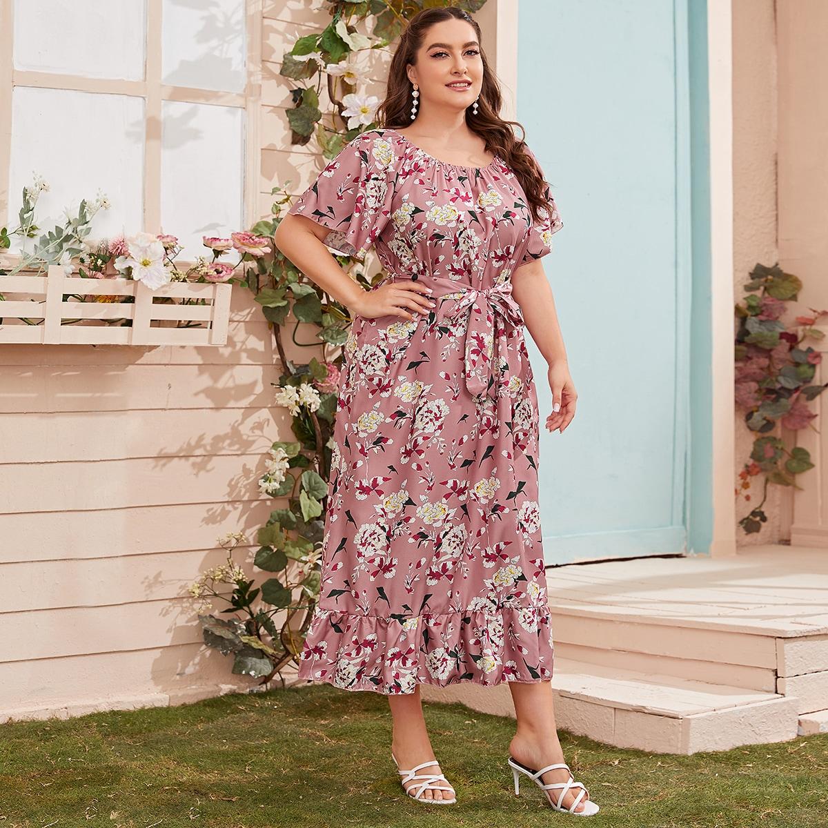 Übergroßes Kleid mit Flatterhülse und Raffung