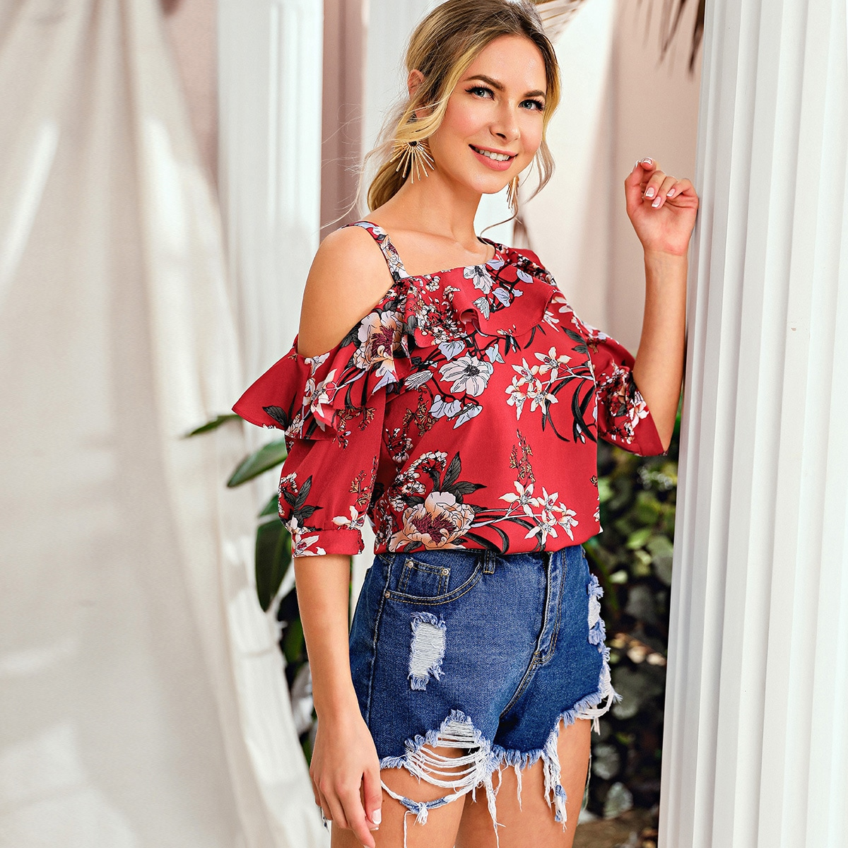 Asymmetrical Shoulder Ruffle Trim Floral Top, SHEIN  - buy with discount