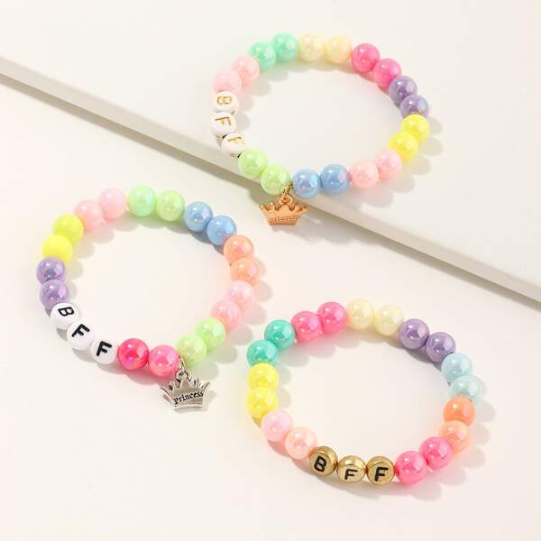 3pcs Girls Crown Charm Beaded Bracelet, Multicolor