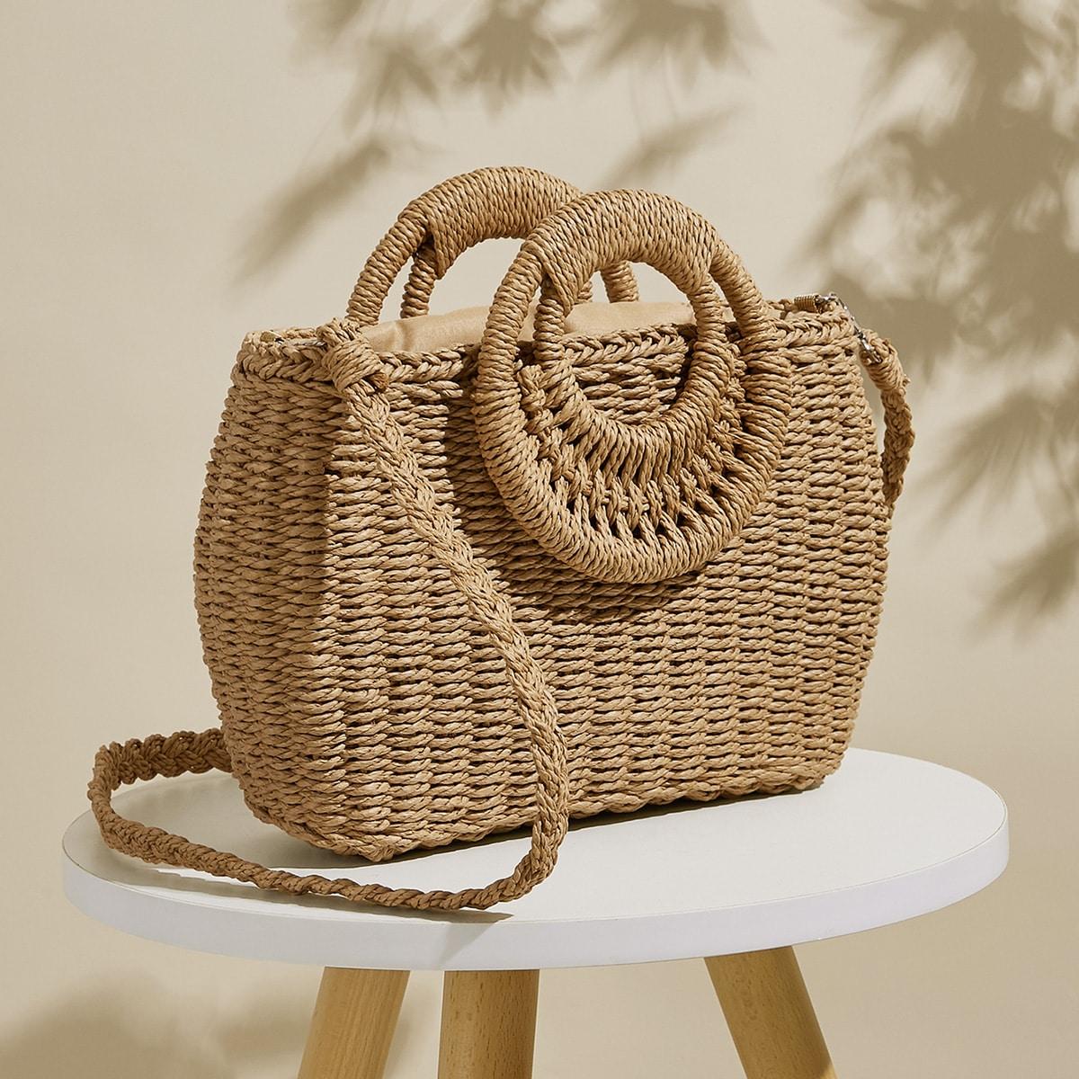 Плетеная сумка-сэтчел с ручкой кольца на кулиске