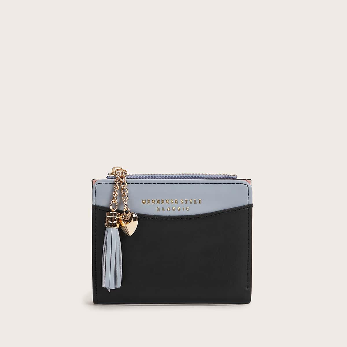 Zweifarbige Brieftasche mit Stern & Quasten Anhänger