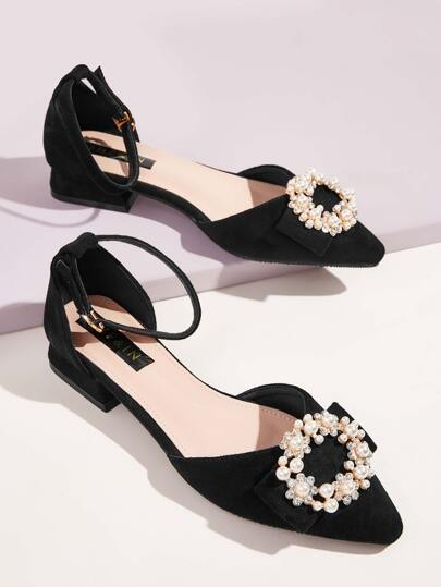 Faux Pearl & Rhinestone Flower Decor Flats
