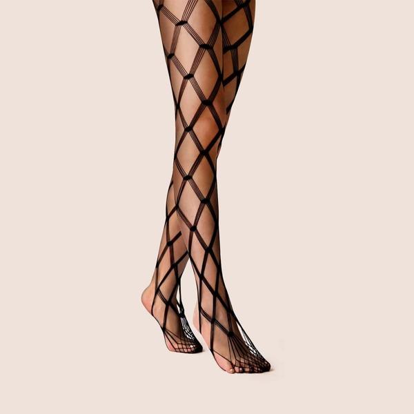 1pair Geometric Pattern Fishnet Socks, Black