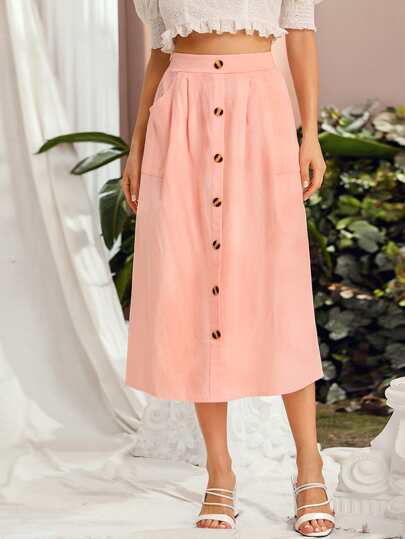 Button Front Solid Skirt