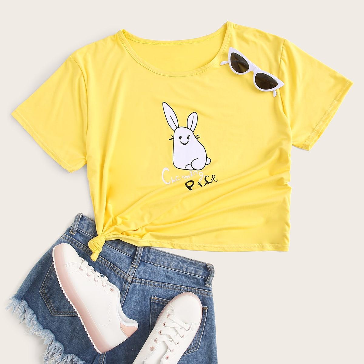 Gelb  Cartoons  Lässig T-Shirts Große Größen