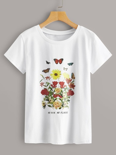 Floral And Slogan Graphic Tee
