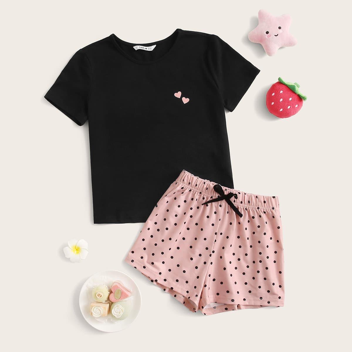 Пижама в горошек с сердечным принтом для девочек