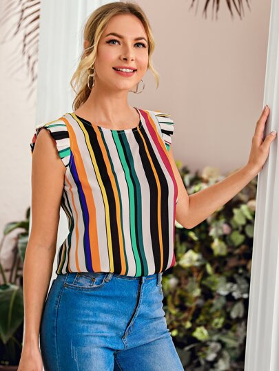 Color Striped Frilled Cuff Blouse
