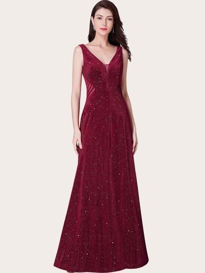 EverPretty V-back Mesh Insert Sequin Velvet Formal Dress