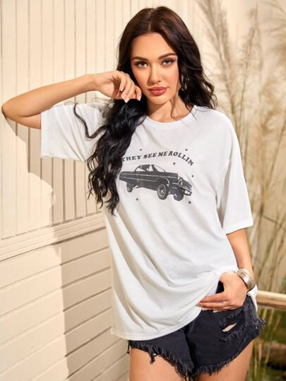 Car And Slogan Graphic Tee