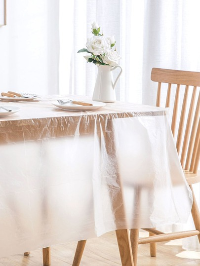 8pcs Disposable Clear Tablecloth